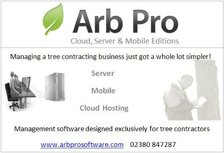 Arb Pro - Cloud, Server and Mobile Editions. Managing a tree contracting business just got a whole lot simpler! Server - Mobile - Cloud Hosting. Management software designed exclusively for tree contractors. www.arbprosoftware.com 02380 847287