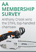 The AA's member survey reveal members opinions and Anthony Crook wins the Stihl top-handled saw
