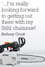 The AA's Membership Survey Prize Draw Winner Anthony Crook said 'I'm really looking forward to getting out there with my Stihl chainsaw!'